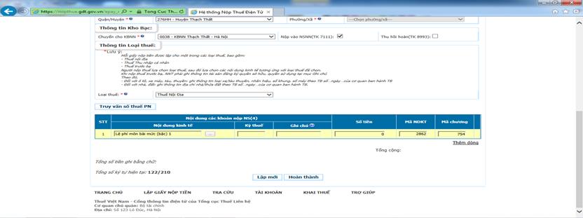 hướng dẫn nộp tờ khai thuế môn bài online6